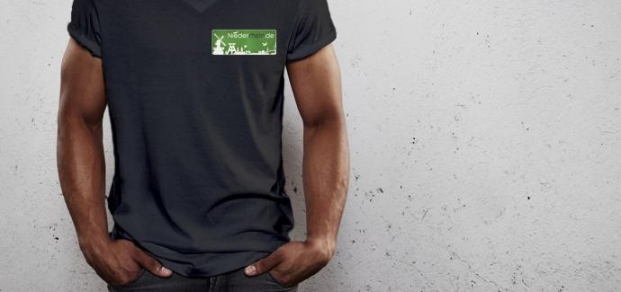 Niederrhein.de Logo T-Shirt mit V-Ausschnitt